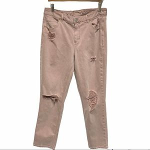 AEO pink distressed tomgirl super stretch x pant 14 long